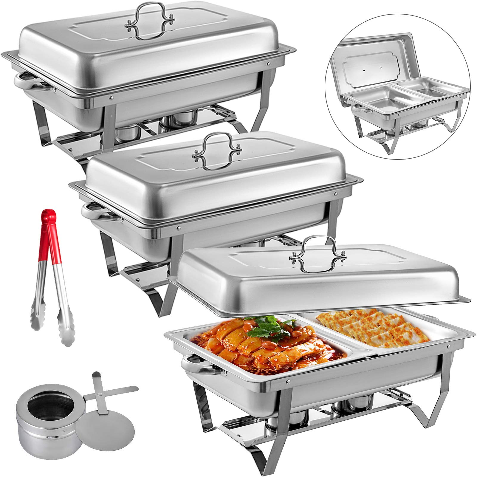 Mophorn 3 Packs Stainless Steel Chafing Dishes 2 Half Size Pans 8 Quart Rectangular Chafer Complete Set