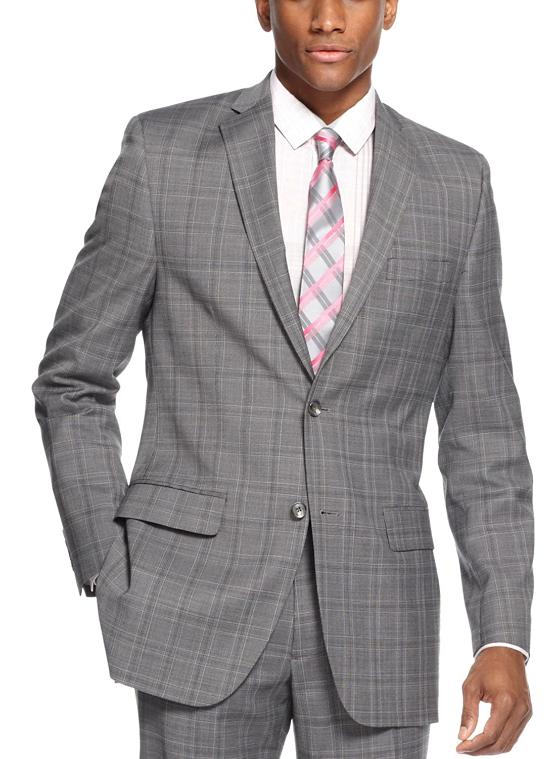 Alfani RED Men`s Jacket Medium Grey Plaid Slim Fit Sport Coat (36R ...