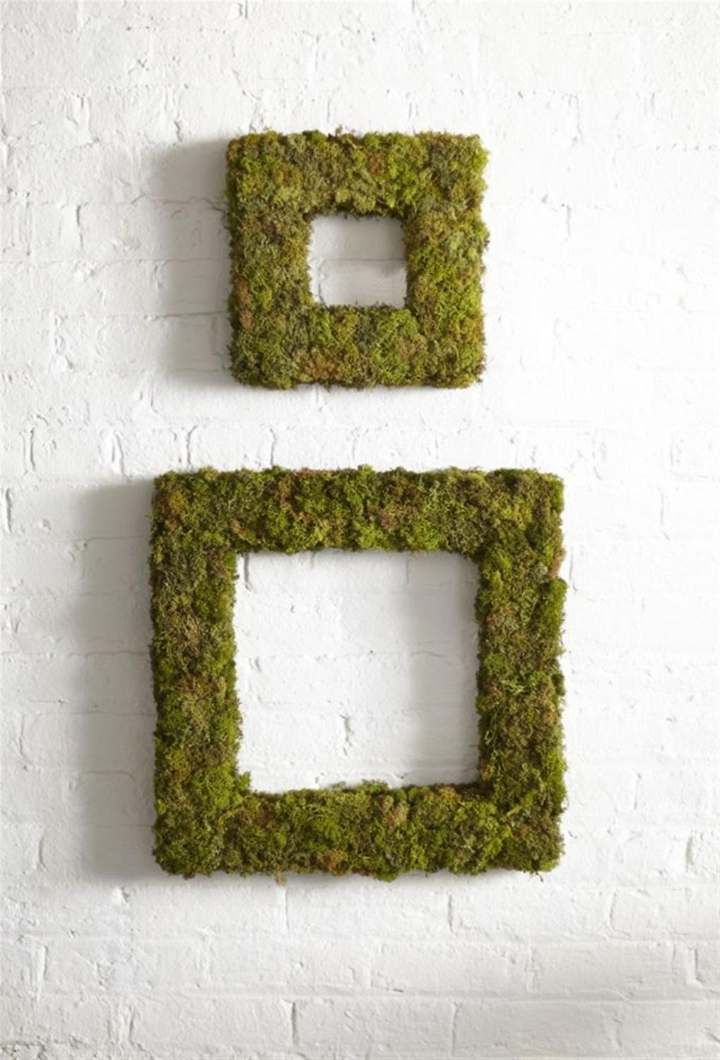 Melrose Pack of 4 Decorative Textured Artificial Moss Inspired Square Wreaths 13'', 21''
