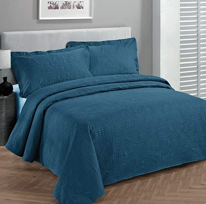Elegant Home Beautiful Over Sized Solid Color Embossed Floral Striped 3 Piece Coverlet Bedspread (King/Cal-King, Blue)