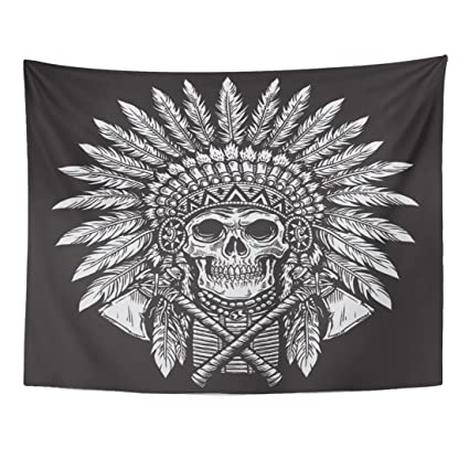 c64a5796bb5ff Image Unavailable. Image not available for. Color: Emvency Tapestry Indian  Bold Native American Skull Chief Cherokee Plume Tattoo Home Decor Wall  Hanging ...