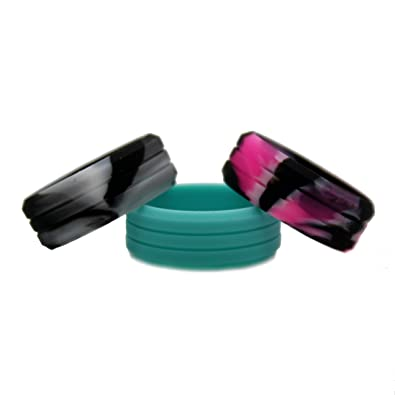 Womens Silicone Wedding Ring 3 Pack (Pink Camo, White Camo And Turquoise)