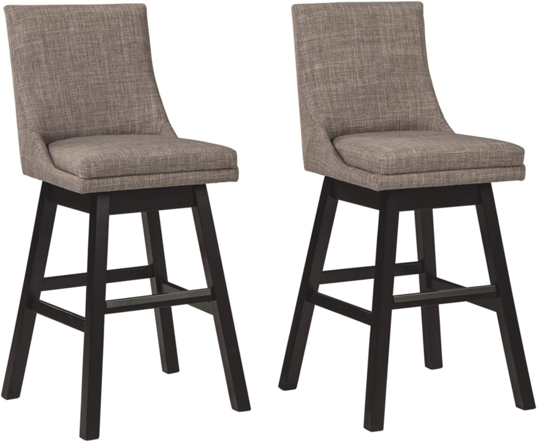Signature Design by Ashley Tallenger Tall Upholstered Swivel Bar Height Stool Set of 2, Light Gray