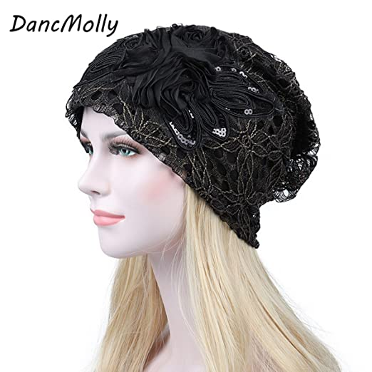 2c1e383c793 DancMolly Sequin Flower Lace Chemo Caps for Women Muslim Stretch Turban  Hair Loss Head Scarf Wrap