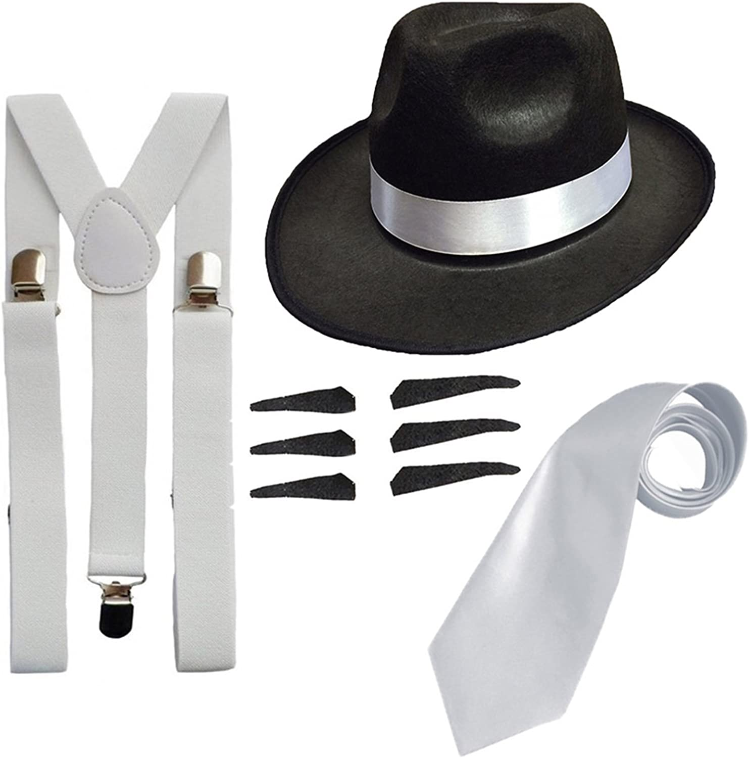 Gangster 1920/'s Fancy Dress Costume White Trilby Hat /& White Tie /& Suspenders
