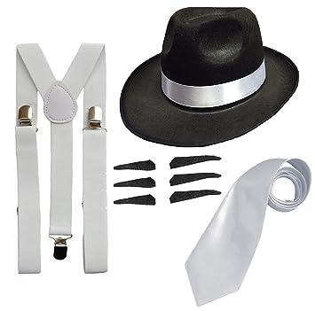 523e8bf4a032f6 DELUXE 1920S GANGSTER FANCY DRESS SET - TRILBY HAT + SUSPENDER BRACES +TIE  (Black Hat): Amazon.co.uk: Toys & Games