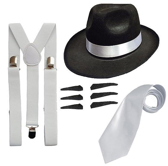 39b28003c09 Amazon.com  RS FASHIONS Men s Deluxe Gangster Fancy Set Trilby Hat +  Suspender Brace +Tie Men  One Size Black Hat  Toys   Games