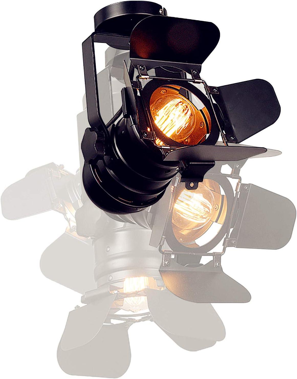 YUANKANG Black Cool Industrial Vintage Style Semi Flush Mount Loft Iron Track Lighting Fixtures, Adjustable Ceiling Shop Light/Wall Spotlight, E26 LED Pendant Lights for Home (Bulb Not Included)