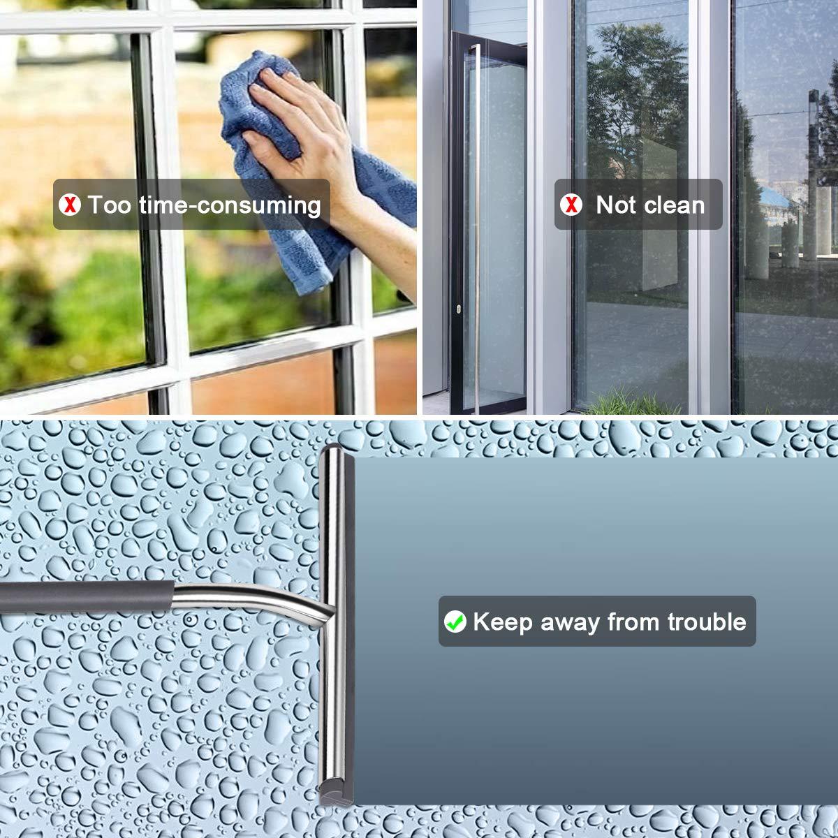 Glaswischer Duschkabinenabzieher mit Haken f/ür Badezimmer Spiegel Fenster Glasreinigung SanGlory Duschabzieher Edelstahl Duschwischer mit Silikon-Wischlippe und Stiel