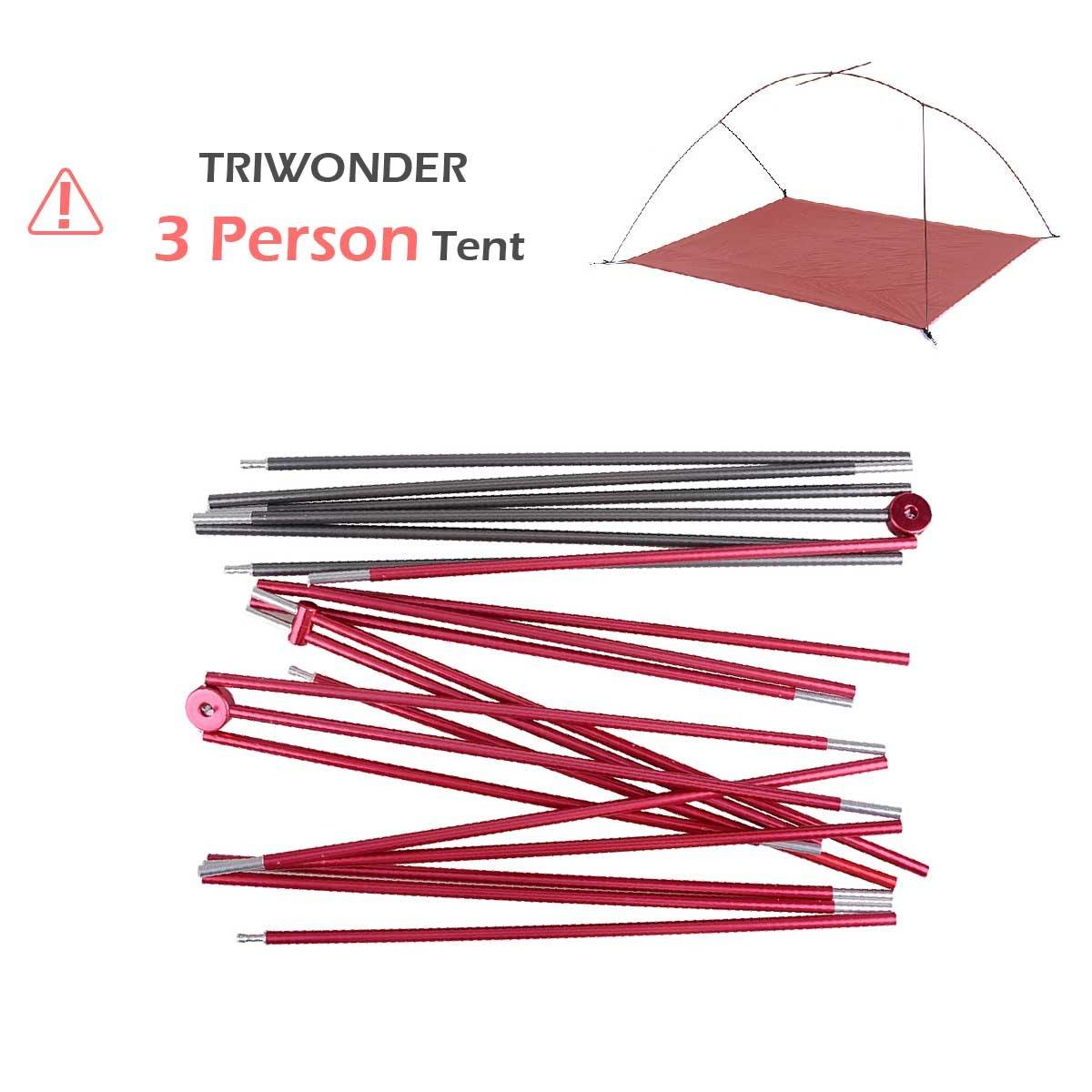TRIWONDER テントポール アルミポール テントフレーム 交換用テント ポール 中空ポール タープポール  TRIWONDER 3人用テント B074QRK491