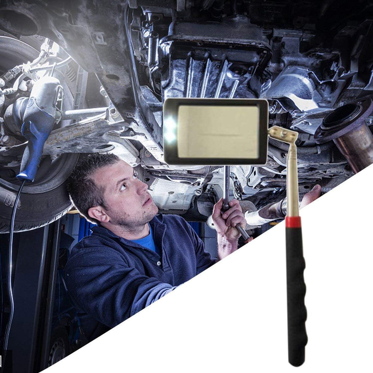 Tree-on-Life Espejo de inspecci/ón telesc/ópico con LED 360 Giratorio para visualizaci/ón Adicional Veh/ículo telesc/ópico /útil Accesorios