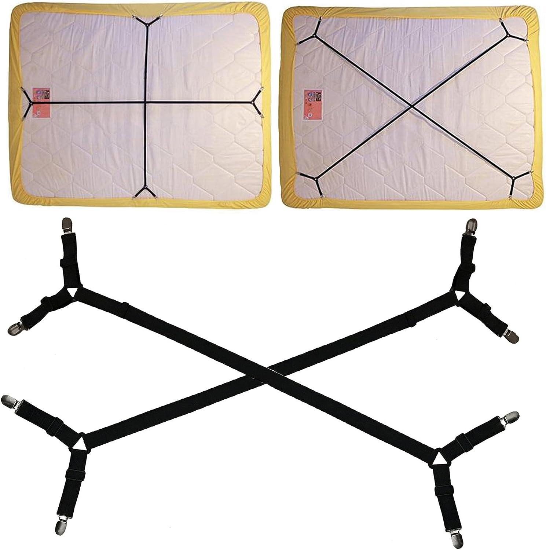4x Triple Adjustable Bed Fitted Sheet Straps Gripper Holder Fastener Clip Strap