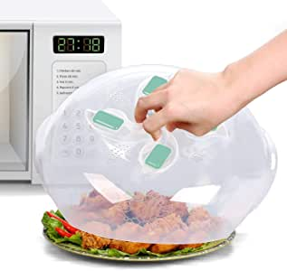 Microwave Plate Cover - Magnetic Hover Function | Microwave Lid Food Cover | Magnetic Microwave Splatter Lid with Steam Vents | 11.8 Inch & BPA-Free-Aqua color