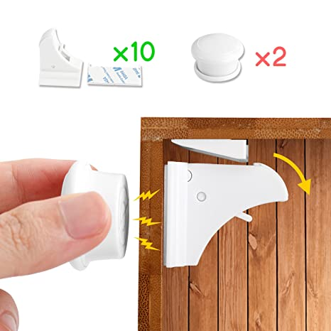 Magnetic Cabinet Locks Baby Safety 4 Child Baby Lock Adhesive No Drill Hidden