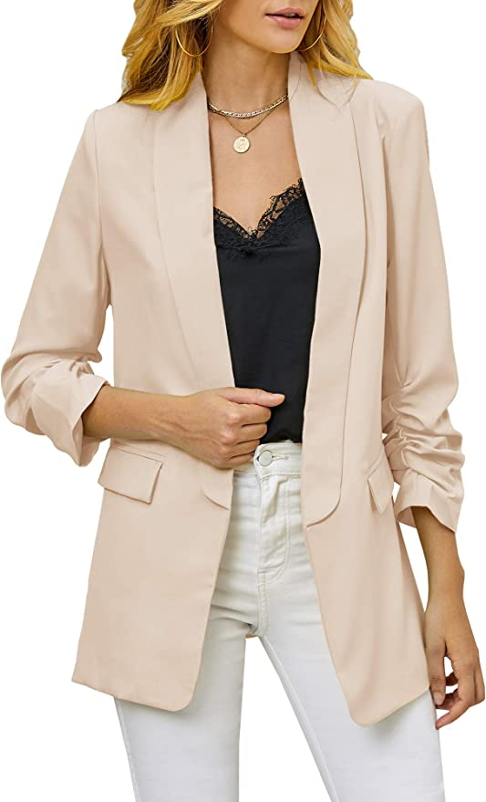 Soulomelody Women Blazers Casual Jackets 3//4 Sleeve Ruched Work Office Open Front Light Suits