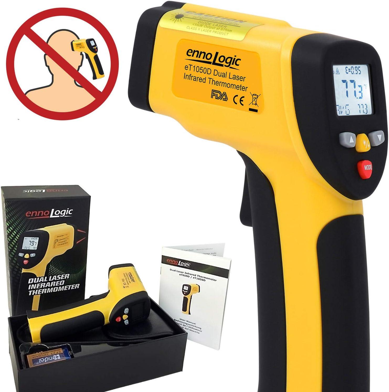 ennoLogic eT650D Thermomètre Infrarouge (PAS pour la température corporelle) Double Visée Laser Sans Contact 50°C à 650°C Thermometre Laser IR