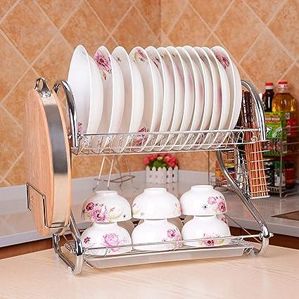 Losenlli Doble Capas de Diseño Cocina Casera Cubiertos de Acero Inoxidable Plato Estante Escurridor de Platos