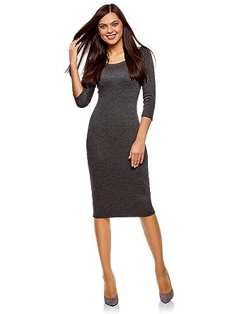 oodji Ultra Damen Enges Kleid mit Rundem Ausschnitt, Grau, DE 32 / EU 34
