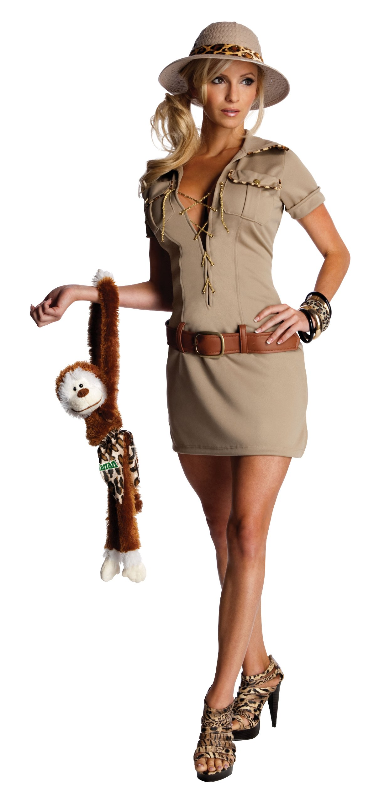 Secret Wishes Womens Tarzan Hunter Jane Costume, Khaki, Medium