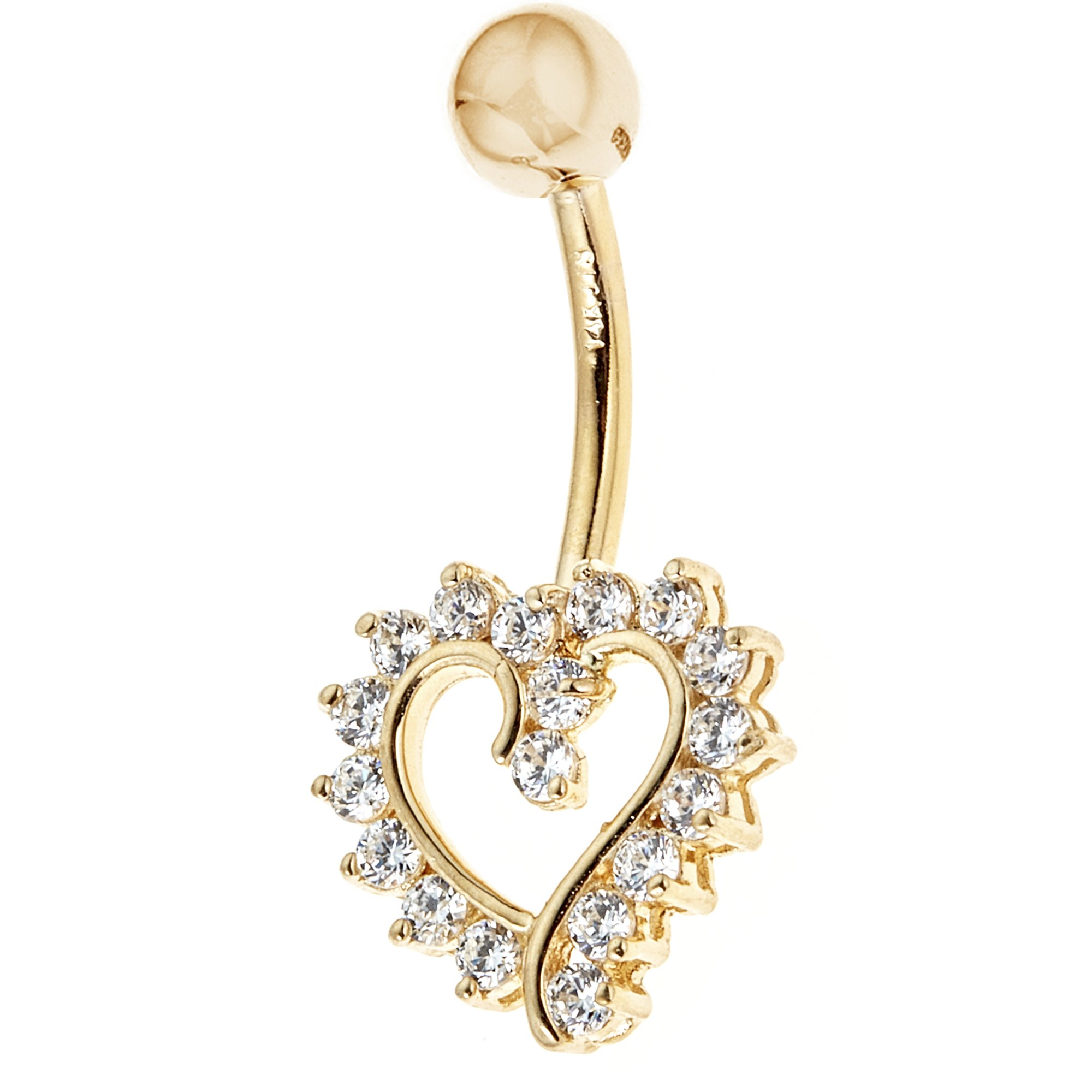 14k Solid Yellow Gold Cubic Zirconia Open Heart Belly Button Navel Ring Body Art