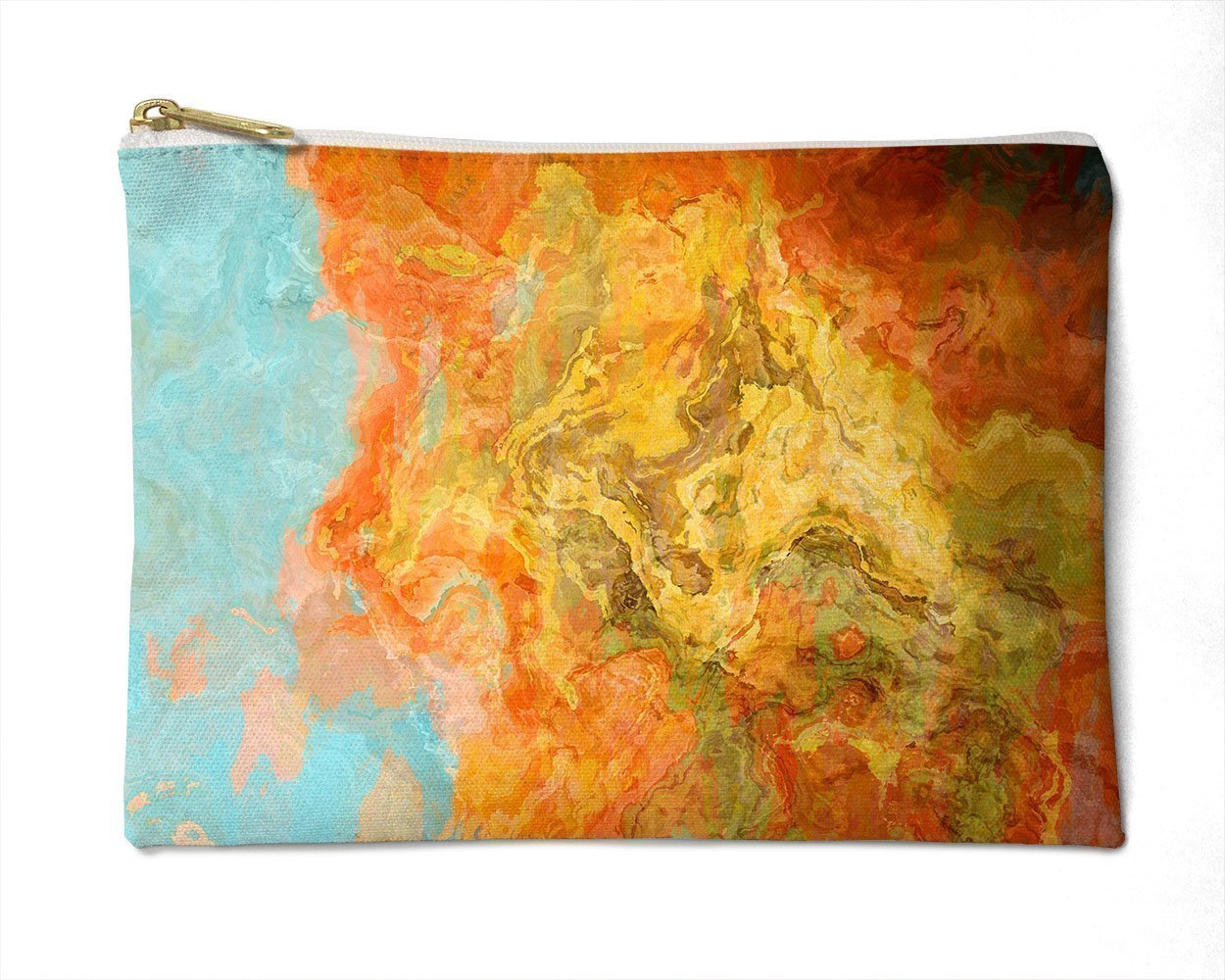 Makeup Bag or Pencil Case with Abstract Art in Orange and Aqua, Electric Illusion