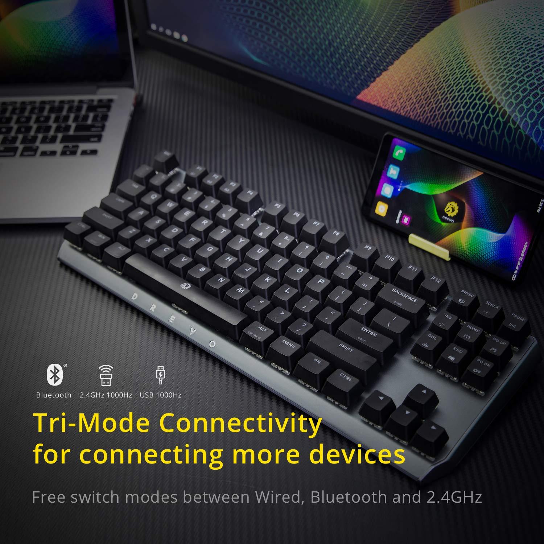 DREVO BladeMaster TE 87K Mechanical Gaming Keyboard Radi RGB USB Knob Red Switch