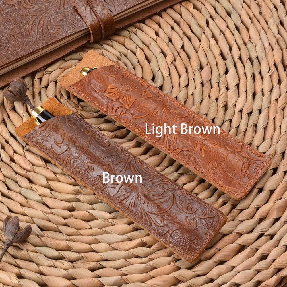 Stylus Touch Pen Shuxy Crazy Horse Leather Pen Case Holder Handmade Fountain Pen Pouch Protective Sleeve Cover for Ballpoint Pen Carved Light Brown