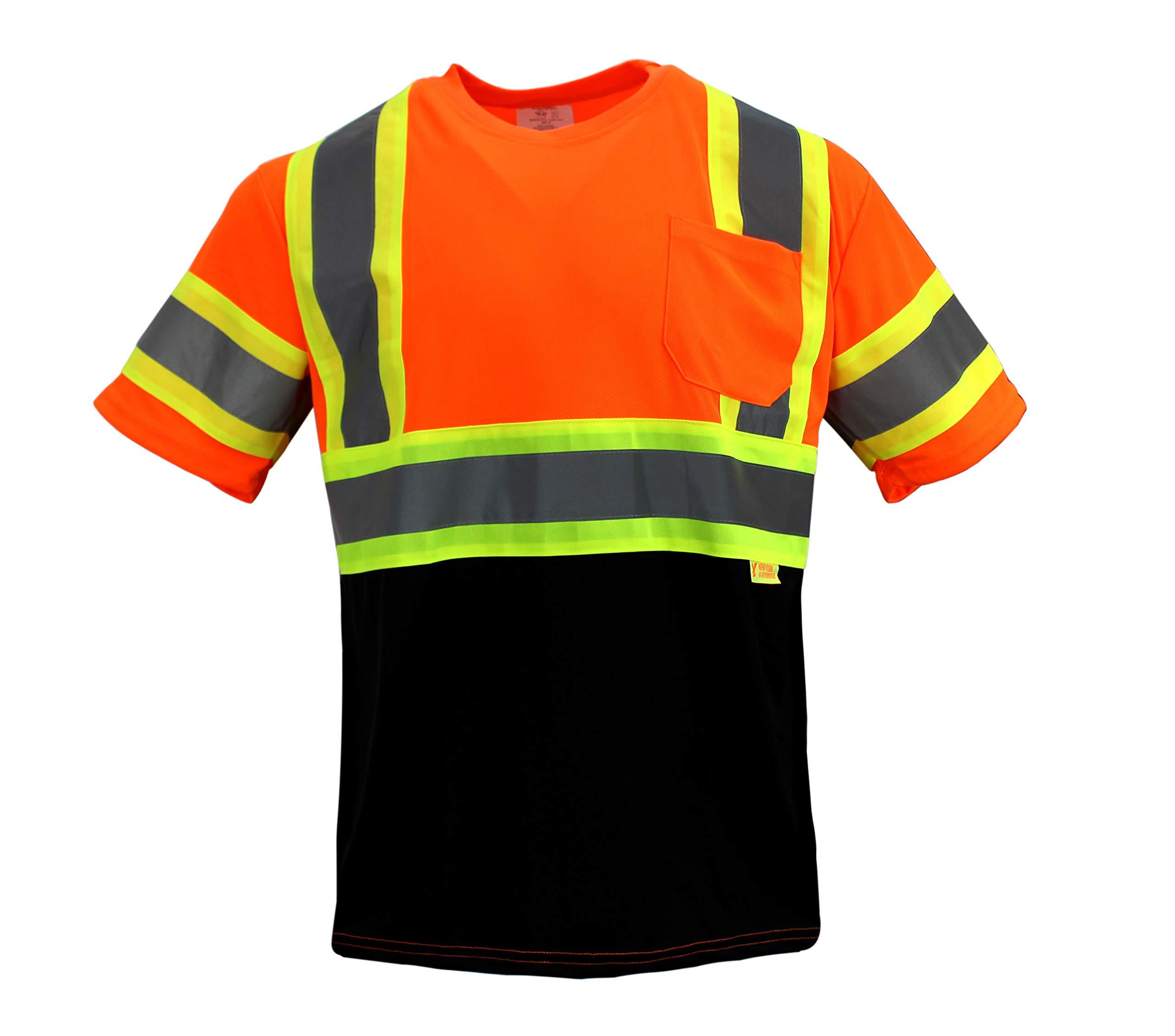 NY BFS-T5511 High-Visibility Class 3 T Shirt with Moisture Wicking Mesh Birdseye, Black Bottom (Orange)