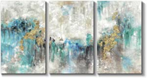 Abstract Wall Art Teal Picture: Hand Painted Artwork Minimalist Painting on Canvas for Living Room (Overall 48''W x 26''H)