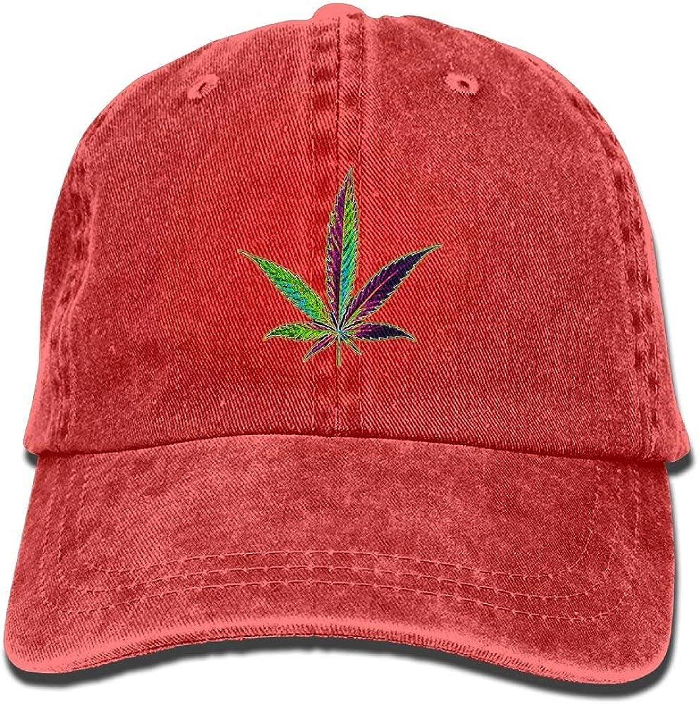 wwoman IEHFE Hombres Mujeres Clásico Denim Cannabis Hoja Ajustable Gorra de béisbol Papá Sombrero Perfil Bajo Aire Libre