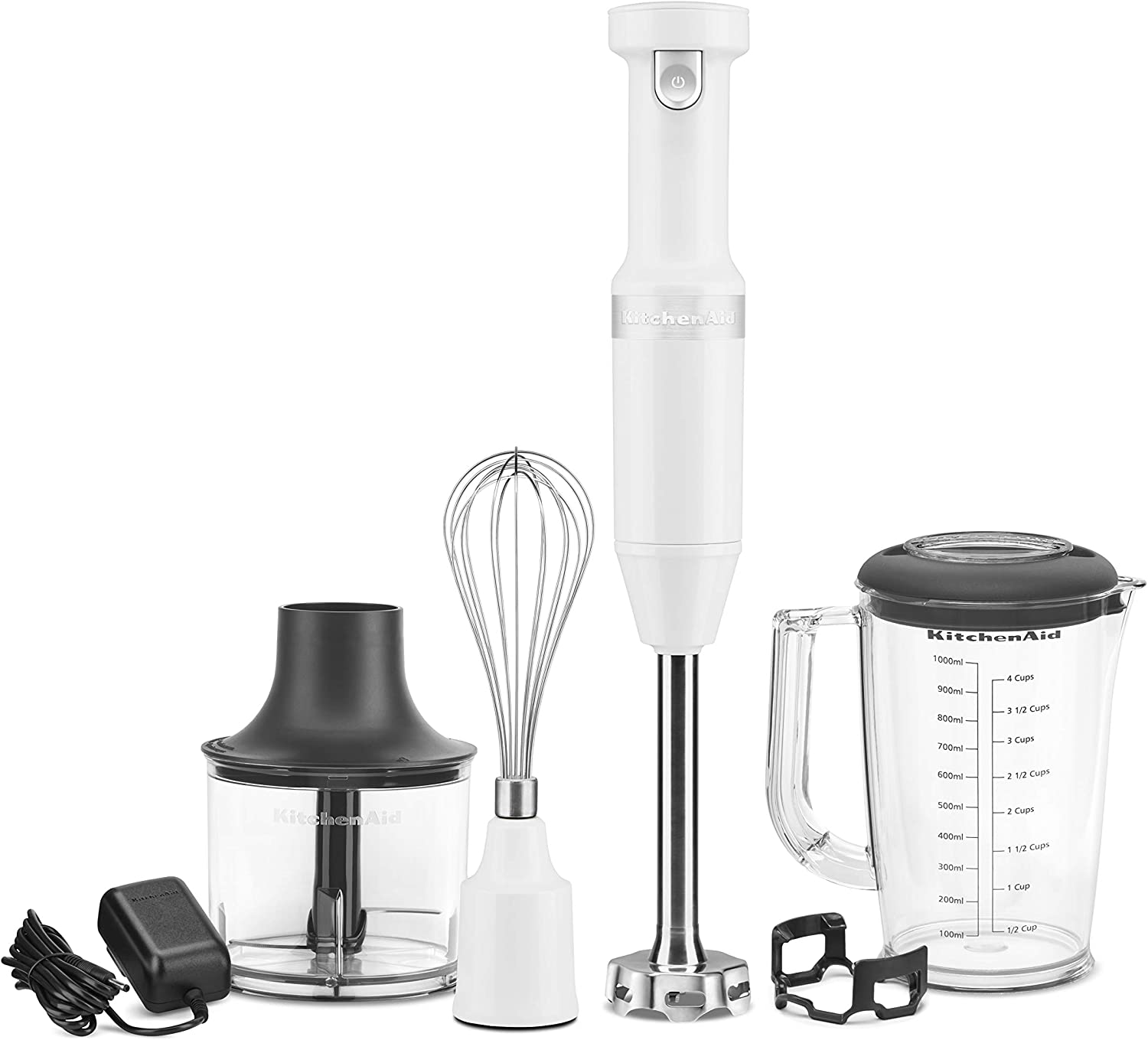 KitchenAid KHBBV83WH Cordless Variable Speed Hand Blender with Chopper and Whisk Attachment, White
