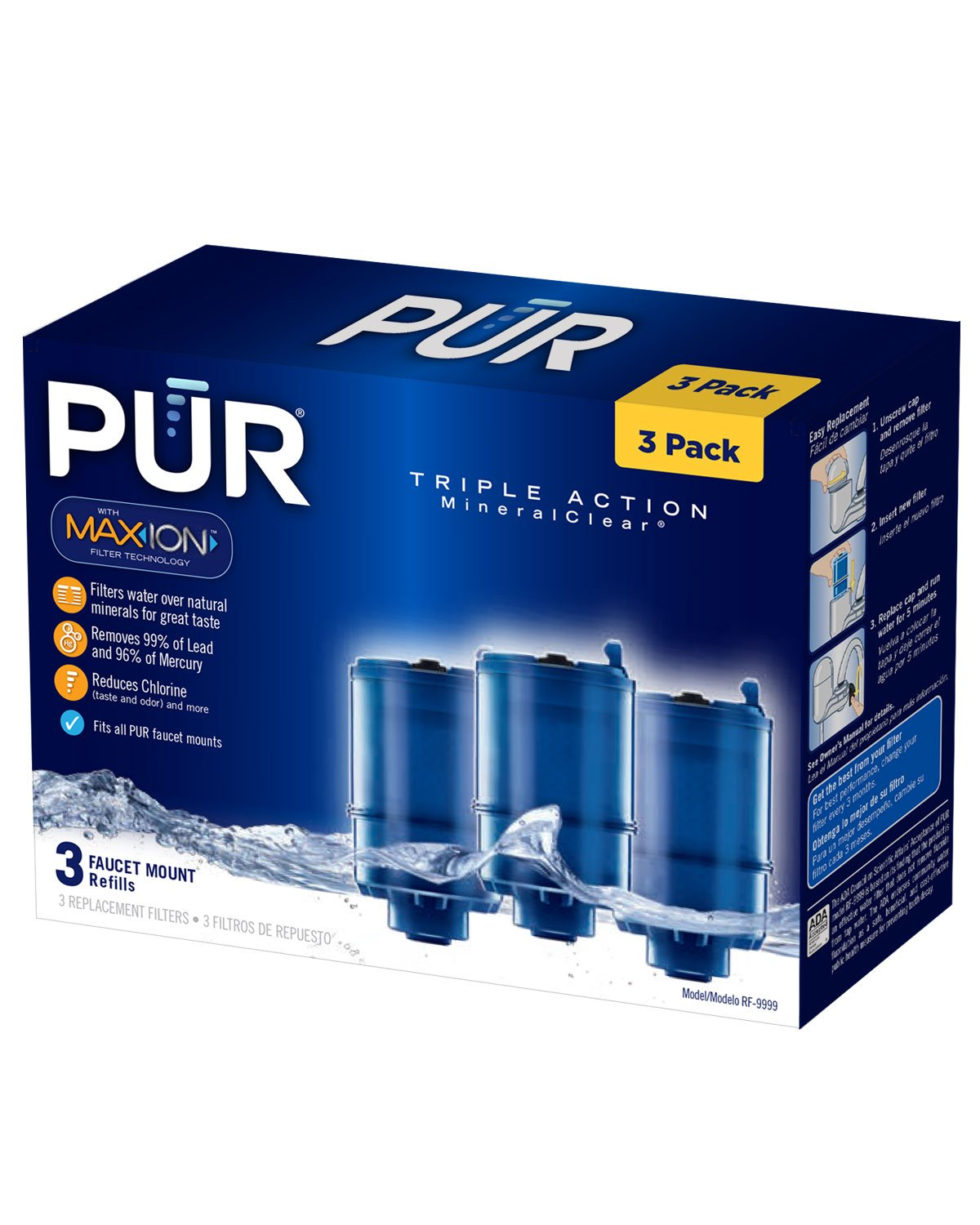 pur rf9999 faucet replacement water filter refill 3pack faucet mount water filters amazoncom