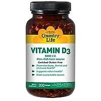 Country Life Vitamin D3 5,000I.U. 125mcg Non-Fish Liver Source - Support for Bone...