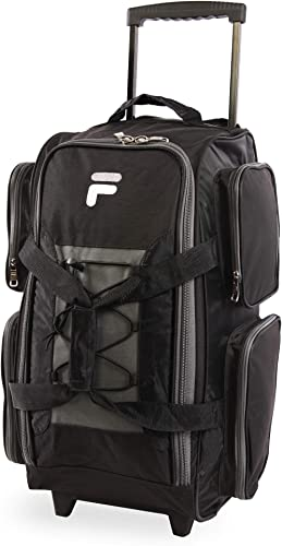 Fila 22 Lightweight Carry On Rolling Duffel Bag, Black, One Size