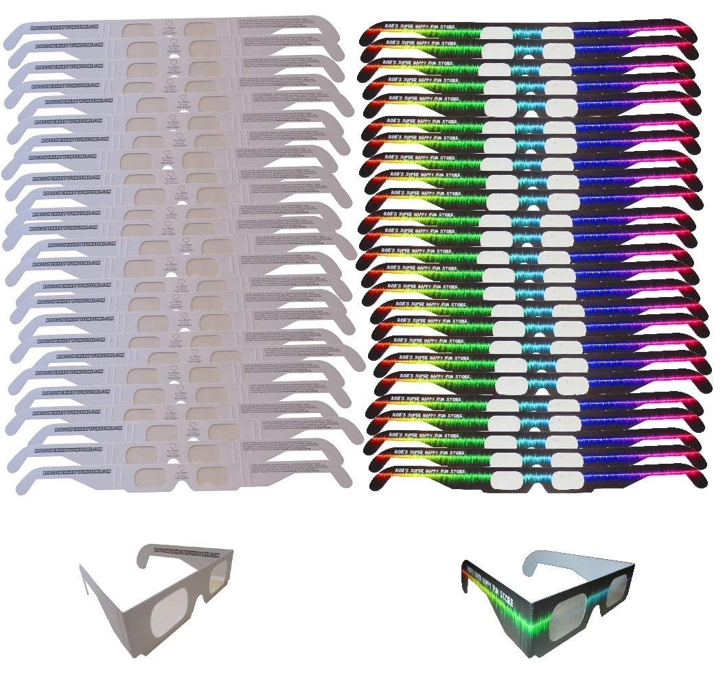 Fireworks Diffraction Glasses -25 Pair Rainbow Hearts (Plain White Frames) plus 25 Pair Starbursts (Rave Waves Frames) - 50 pack total - for Fireworks, Holiday Lights, Wedding Receptions, Rave Events by Rob's Super Happy Fun Store (Image #1)