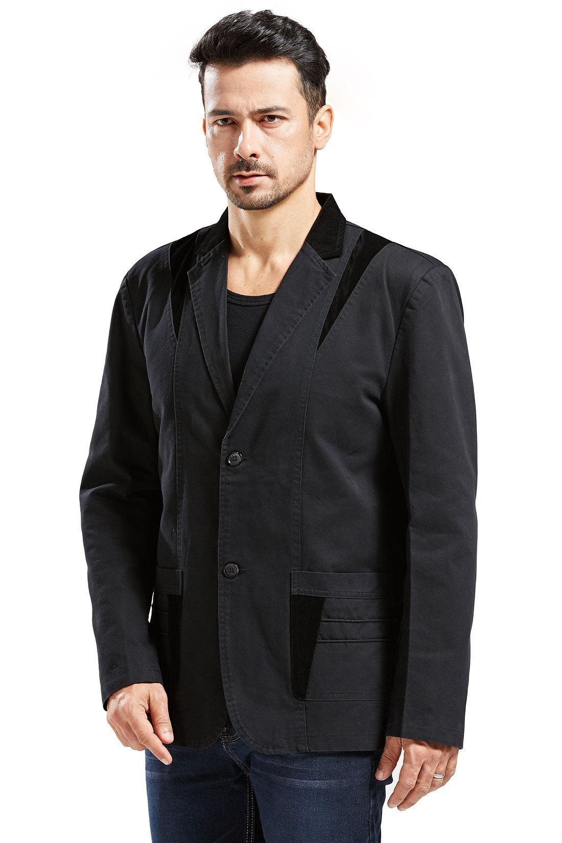 Chartou Men's Casual Western-Style Lightweight Slim Two-Buttons Cotton Suit Blazers Jacket (Medium, Black)