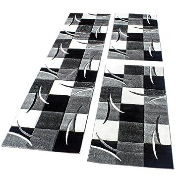 Phc Bettumrandung Laufer Teppich Modern Karo Schwarz Grau Weiss
