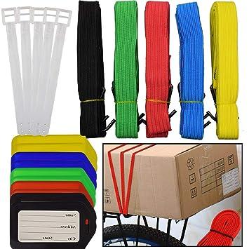 BESYZY 2Pcs Correas de Equipaje Ajustable Maletas Correas + 10 etiquetas de equipaje para el cierre seguro de su maleta e identificar su equipaje: ...