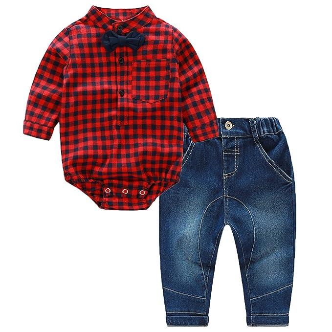 puseky recién nacido niños bebé Niños Ropa a cuadros Pelele Mono + pantalones vaqueros Pantalones Mono: Amazon.es: Ropa y accesorios