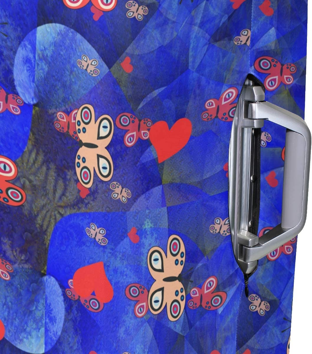 ALAZA Luggage Protector,Butterflies And Hearts Elastic Travel Luggage Suitcase Cover,Washable and Durable Anti-Scratch Case Protective Cover for 18-32 Inches