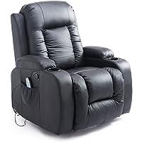 Homcom Fauteuil de Massage et Relaxation électrique Chauffant inclinable Repose-Pied télécommande