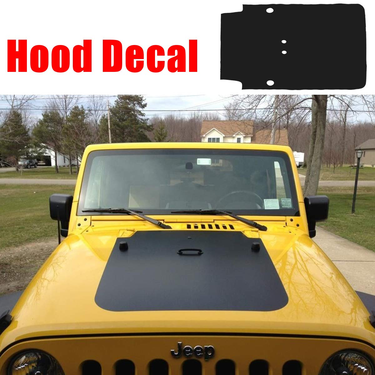 Sala store 83x45cm car hood decal for jeep for wrangler jk 07 18 matte black hood sticker waterproof car auto front body hood sticker amazon com