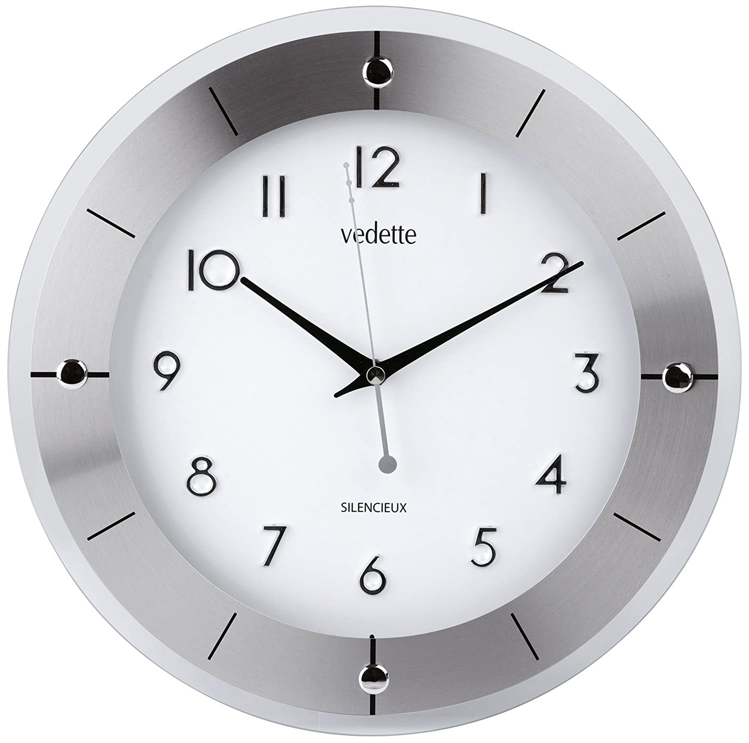 Awesome vedette vp pendule entourage verre et aluminium for Horloge murale design silencieuse
