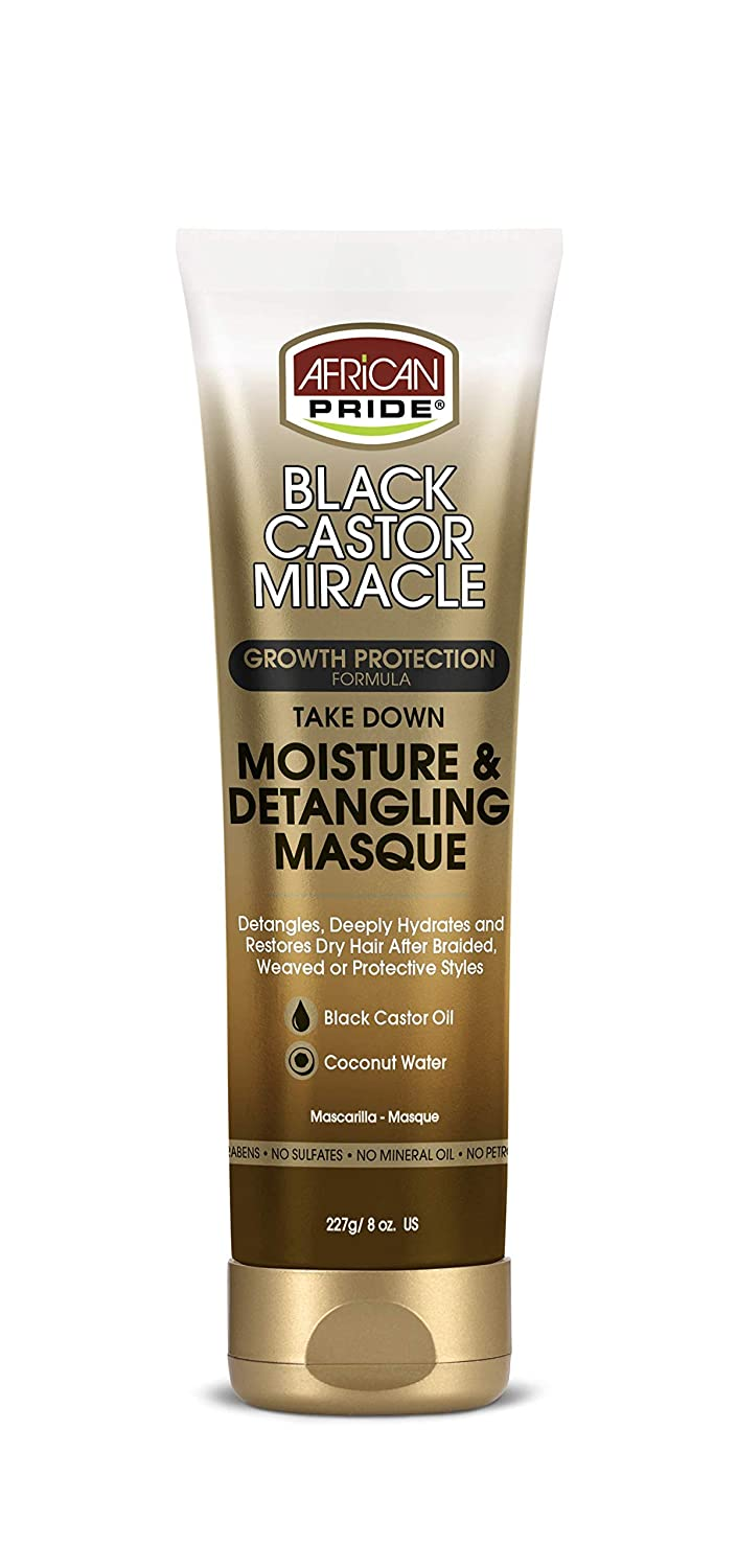 African Pride Black Castor Miracle Take Down Moisture & Detangling Masque - Hydrates, Restores Dry Hair, Contains Black Castor Oil & Coconut Water, Conditions, Removes Build-Up, Prevent Breakage, 8 oz