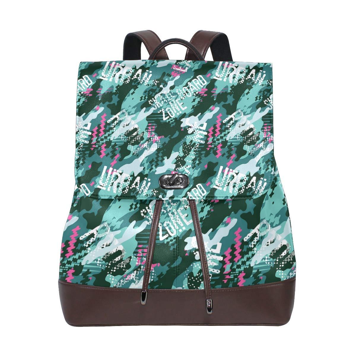 Unisex PU Leather Backpack Green Urban Camo Print Womens Casual Daypack Mens Travel Sports Bag Boys College Bookbag