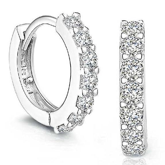 104 opinioni per orecchini donna, DDLBiz® elegante 925 d'argento Strass cerchio Diamante