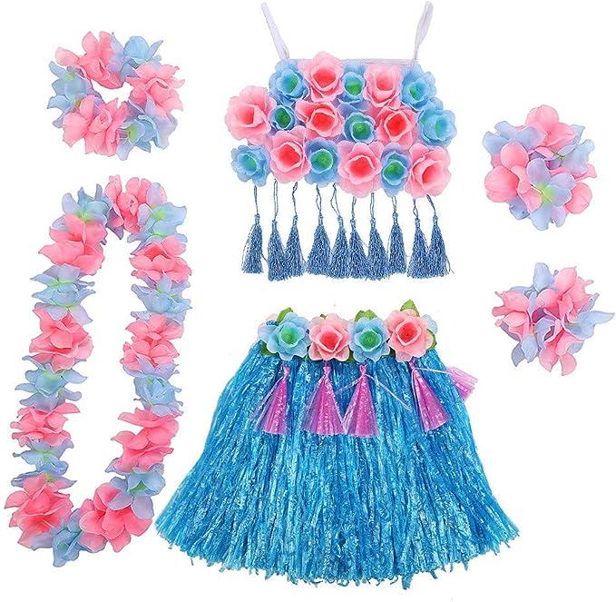 FAMLYJK Hawaiana Hula Hierba Falda para niños, Fiesta Trajes de ...