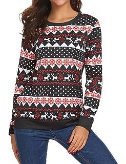 fbf7d007113 Halife Womens Ugly Christmas Reindeer Snowflake Printed Long Sleeves  Sweatshirt Pullover Hoodies