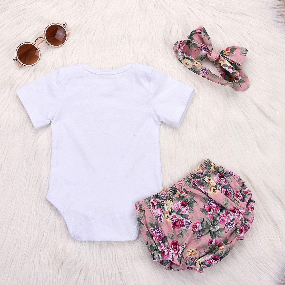 3 ST/ÜCKE Baby M/ädchen Kleidung Set Neugeborenes Kleid Prinzessin Outfits Strampler+Shorts+Stirnband f/ür Papa Mama Fathers Day