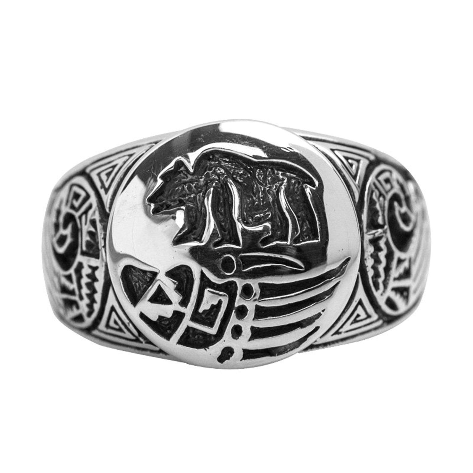 Epinki 925 Sterling Silver Punk Rock Vintage Gothic Carved Bear Ring for Men Size 9 by Epinki